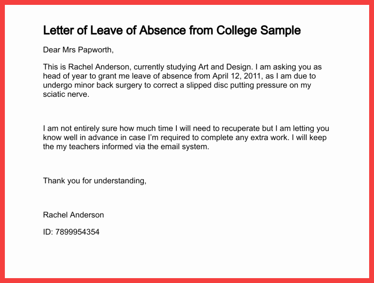 Absent Letter for School Beautiful School Absence Note Example