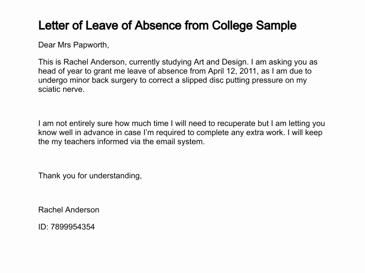 Absent Letter for School Lovely How to Write Letter Of Absence