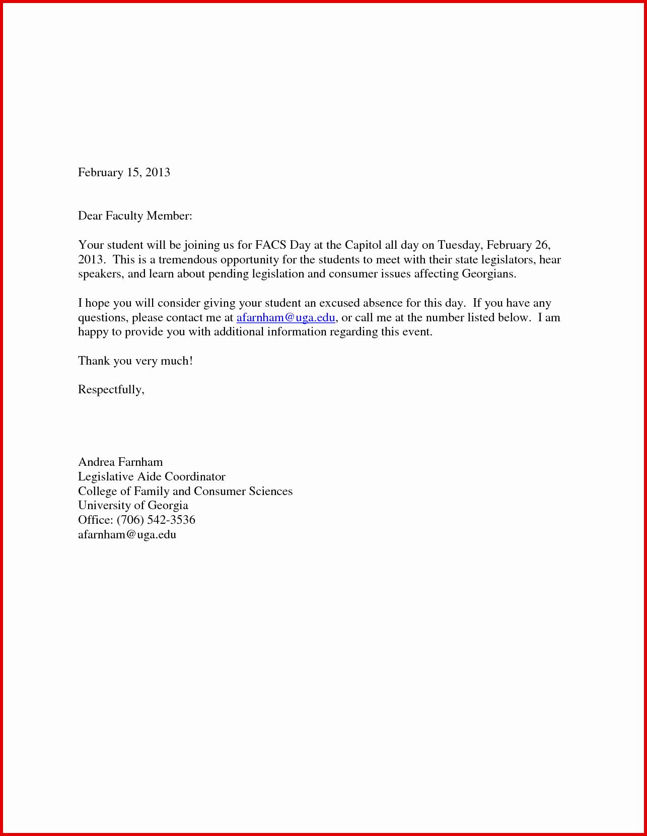 Absent Letter for School Lovely Mc Letter Sample