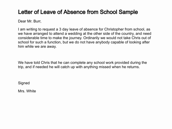 Absent Letter for School Unique What is A Good Sample Letter to Write An Absence From