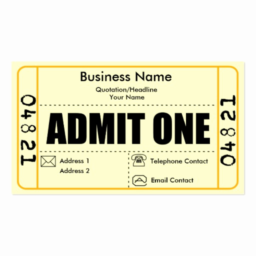 Admit One Ticket Template Lovely Admit One Business Card Templates