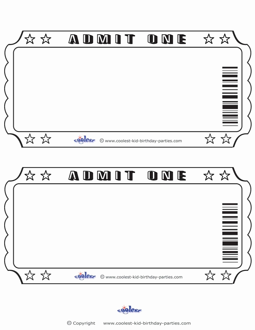 Admit One Ticket Template Lovely Blank Printable Admit E Invitations Coolest Free