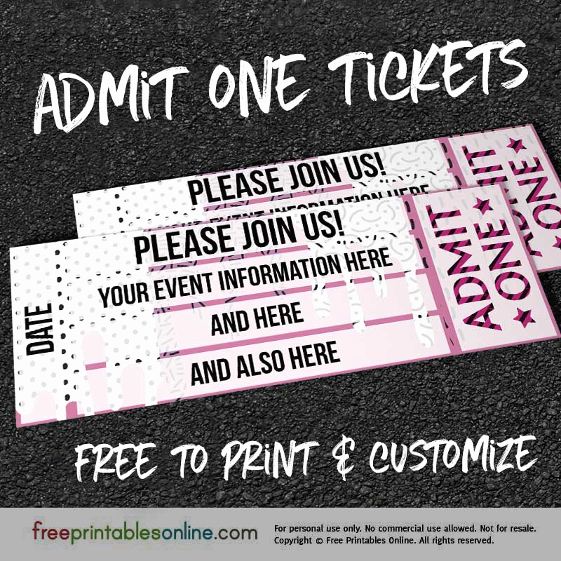 Admit One Ticket Template Unique Drip Drop Admit E Ticket Template