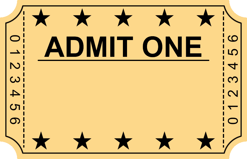 Admit One Ticket Template Unique Entry Ticket Clipart Clipground
