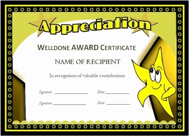 Award Certificate Template Free Best Of 43 Stunning Certificate and Award Template Word Examples
