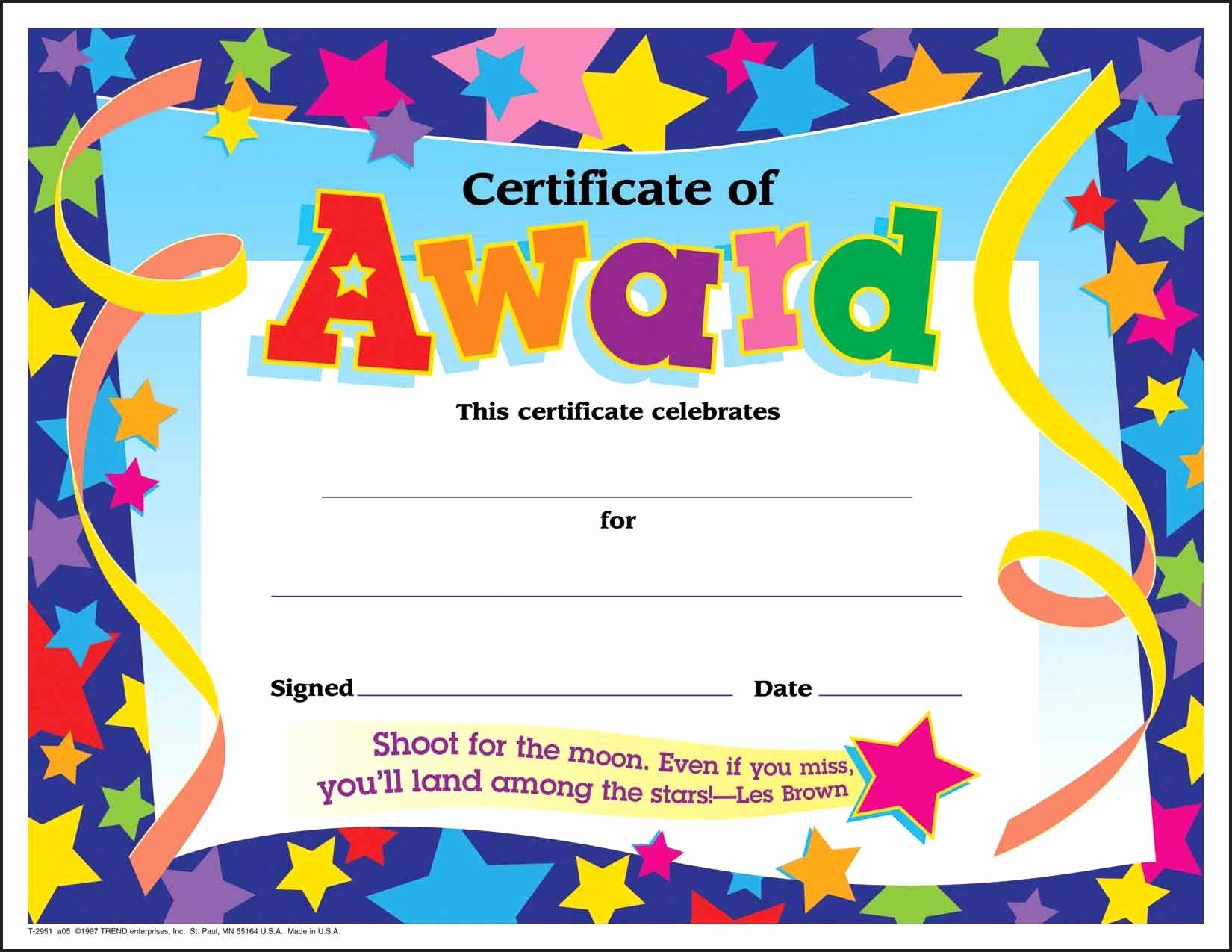 Award Certificate Template Free Fresh Award Certificates