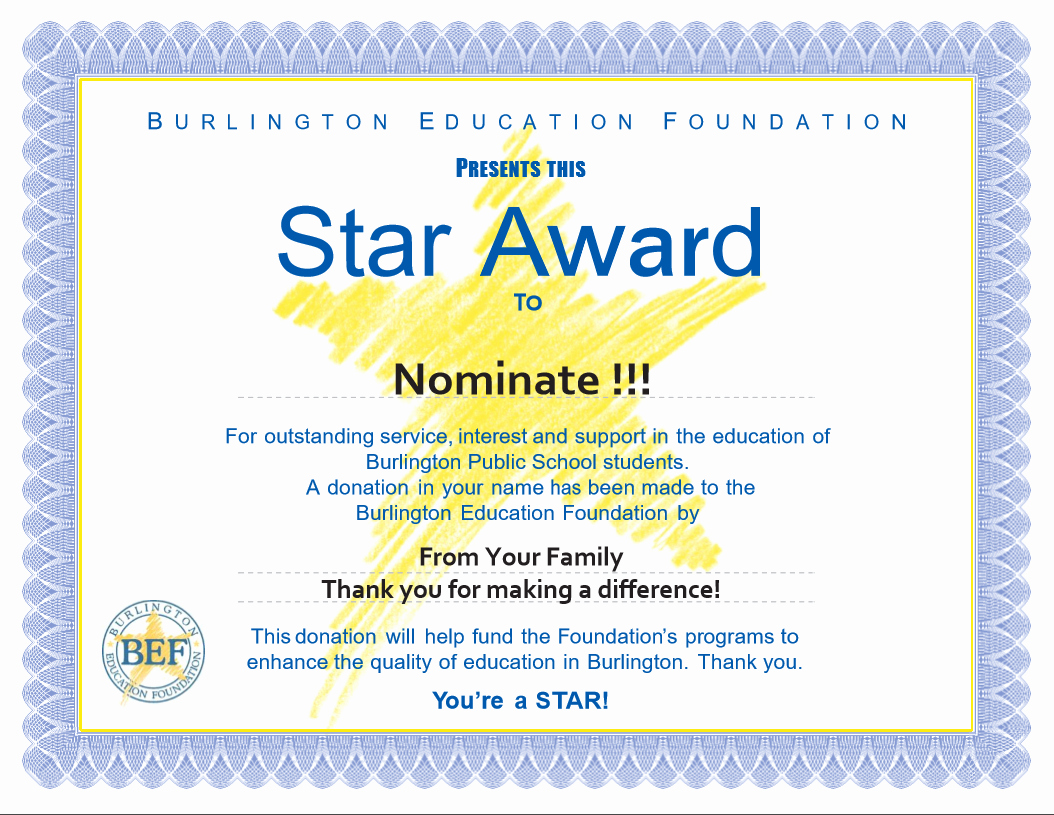 Award Certificate Template Free Fresh Star Awards Burlington Education Foundation