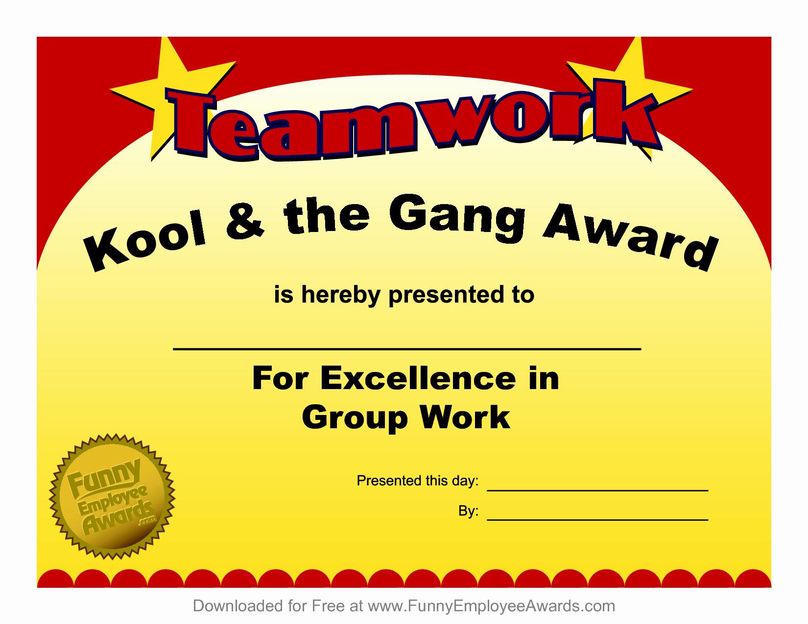 Award Certificate Template Free Inspirational Fun Award Templatefree Employee Award Certificate