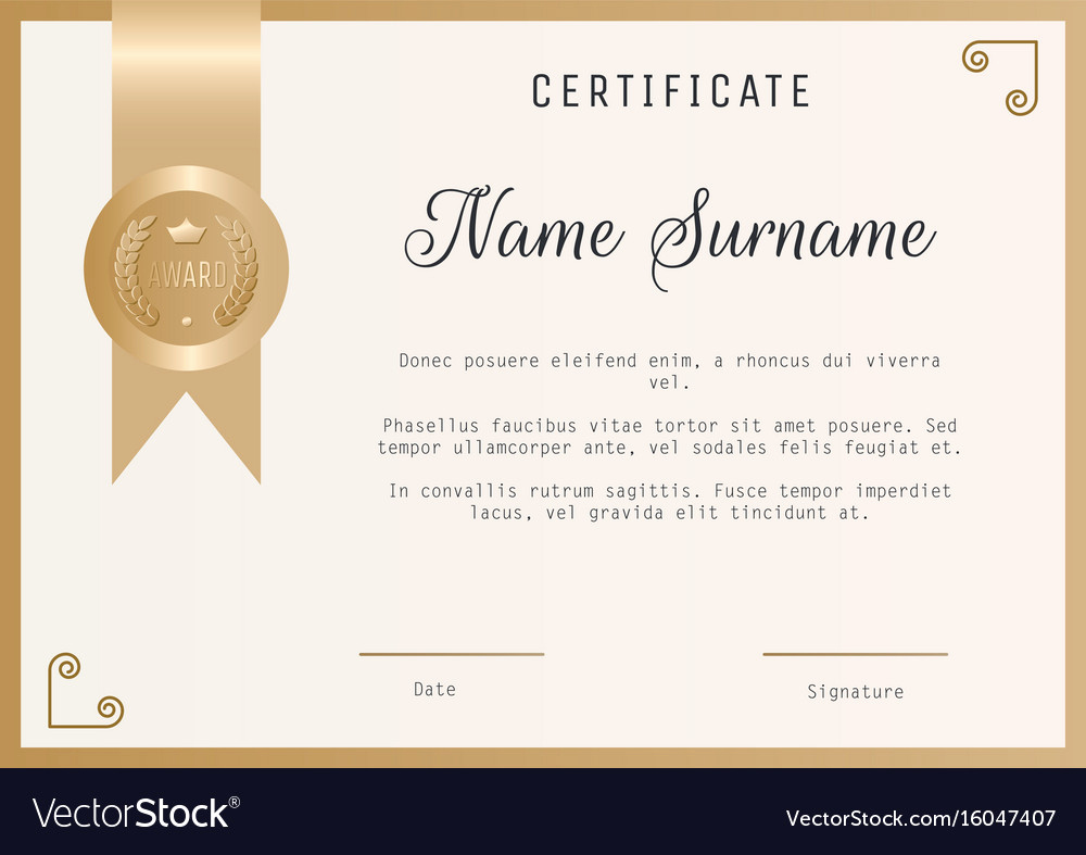 Award Certificate Template Free Lovely Certificate Award Template Blank In Gold Vector Image