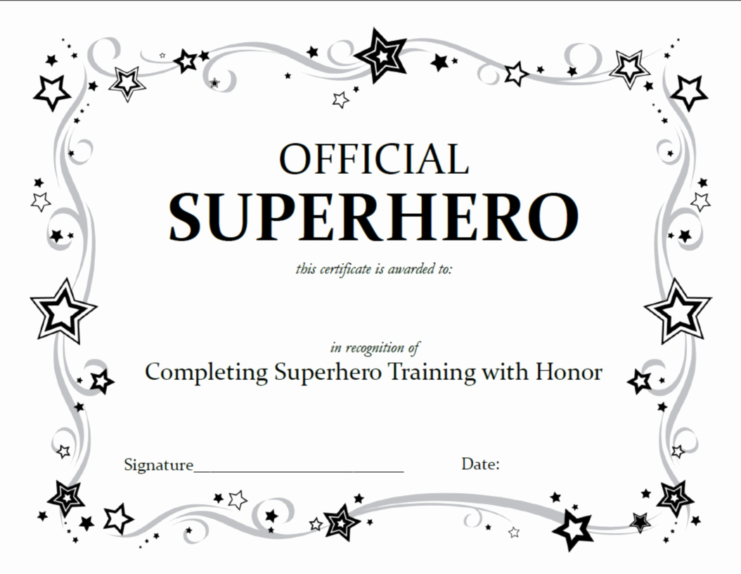 Award Certificate Template Free Lovely Superhero Squad Party Activities A Little Tipsy