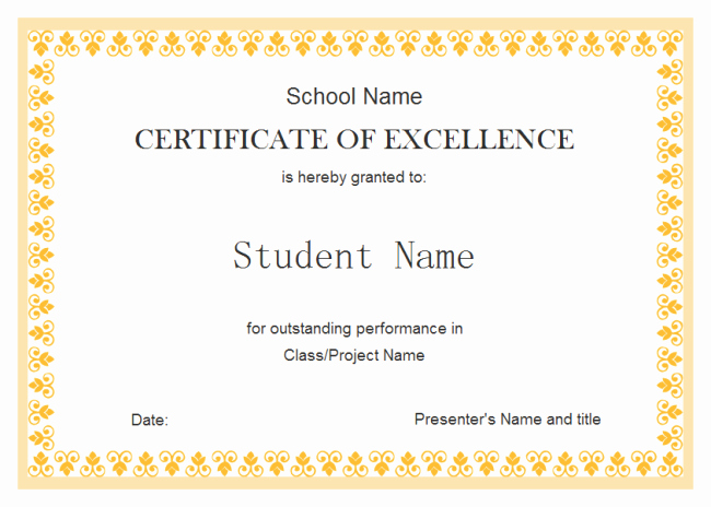 Award Certificate Template Free New Perfect Example Of Editable Certificate Of Excellence