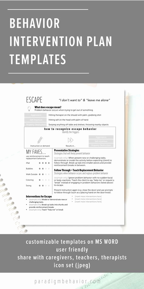 Behavior Intervention Plan Template Awesome 1000 Images About Managing Behaviors On Pinterest