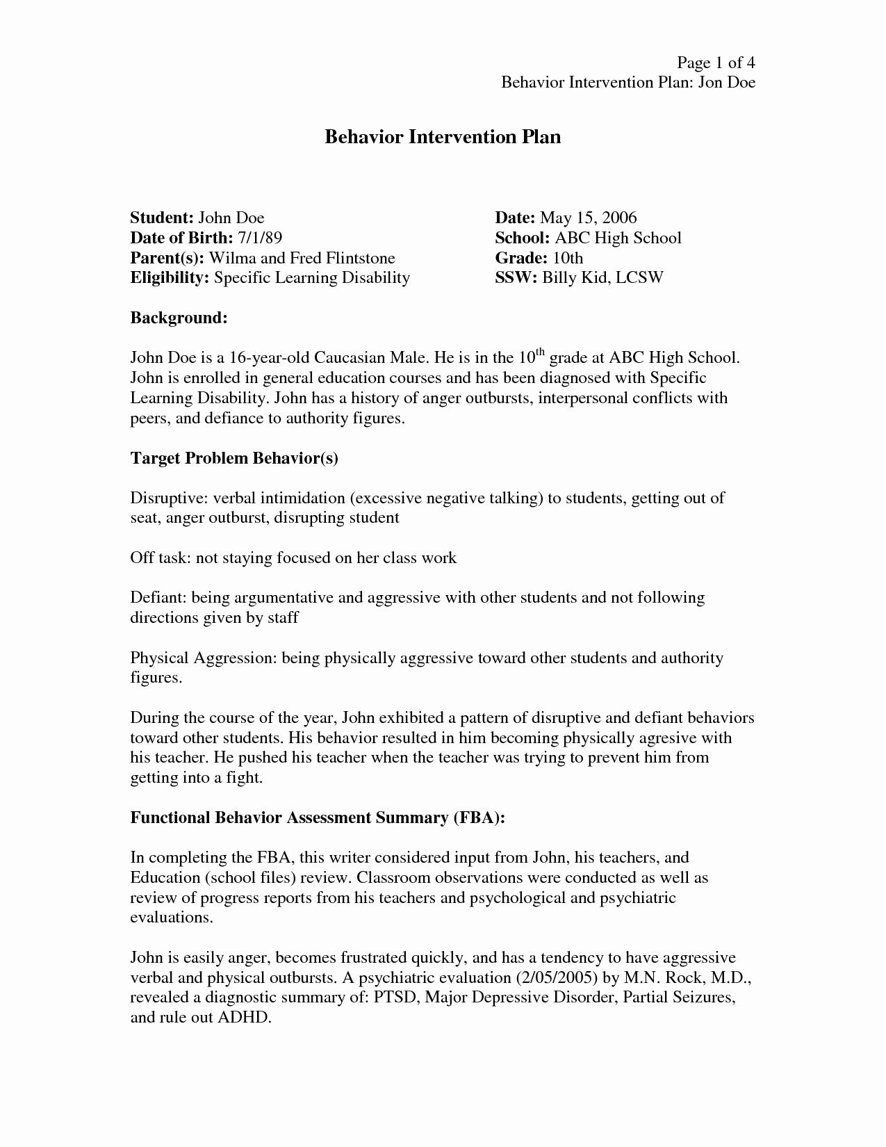 Behavior Intervention Plan Template New Behavior Intervention Plan Template