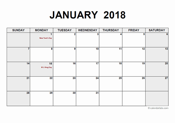 Blank Monthly Calendar Template Pdf Awesome 2018 Monthly Calendar Pdf Free Printable Templates