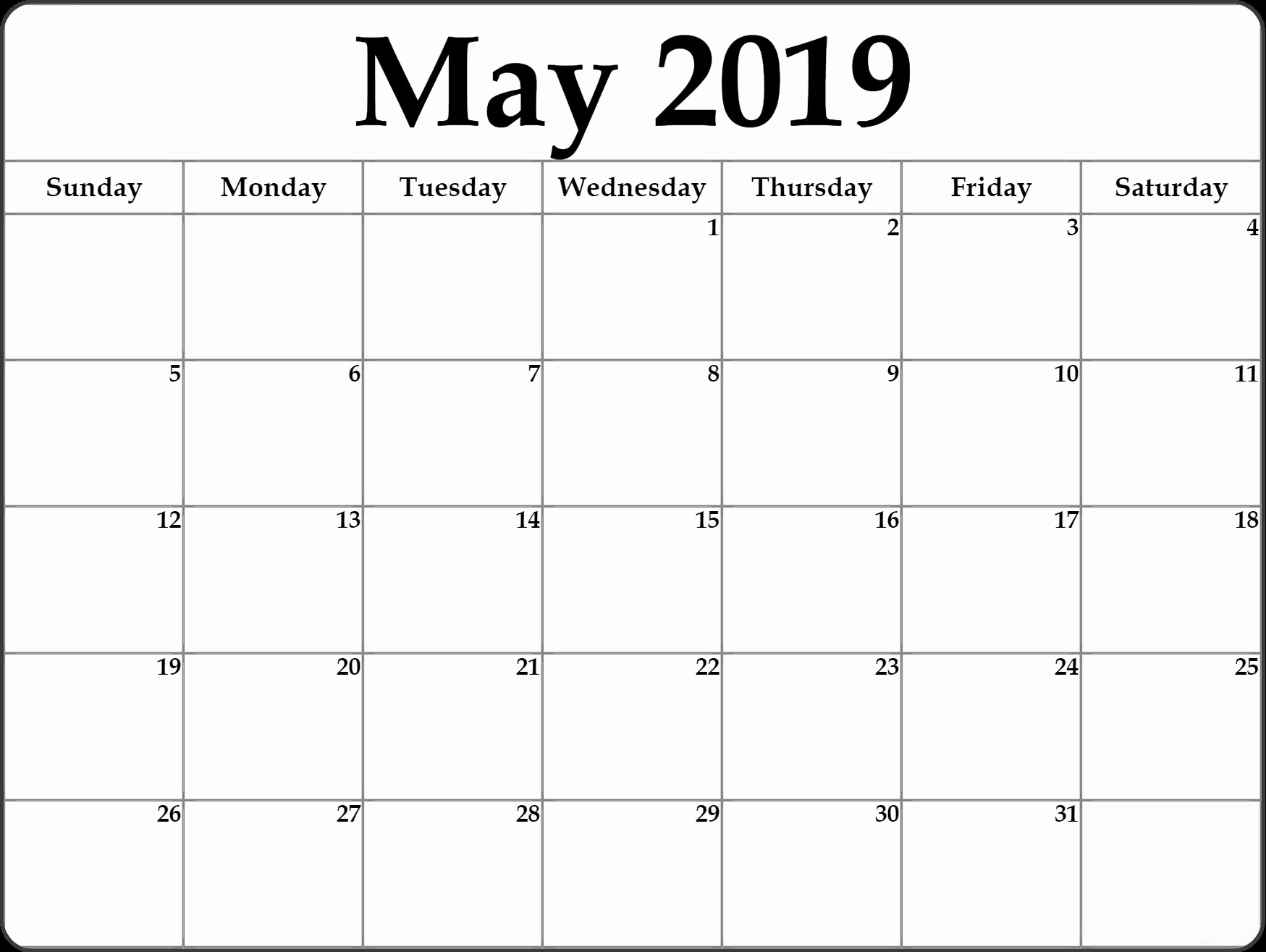 Blank Monthly Calendar Template Pdf Beautiful Blank May 2019 Calendar Template In Pdf format Free