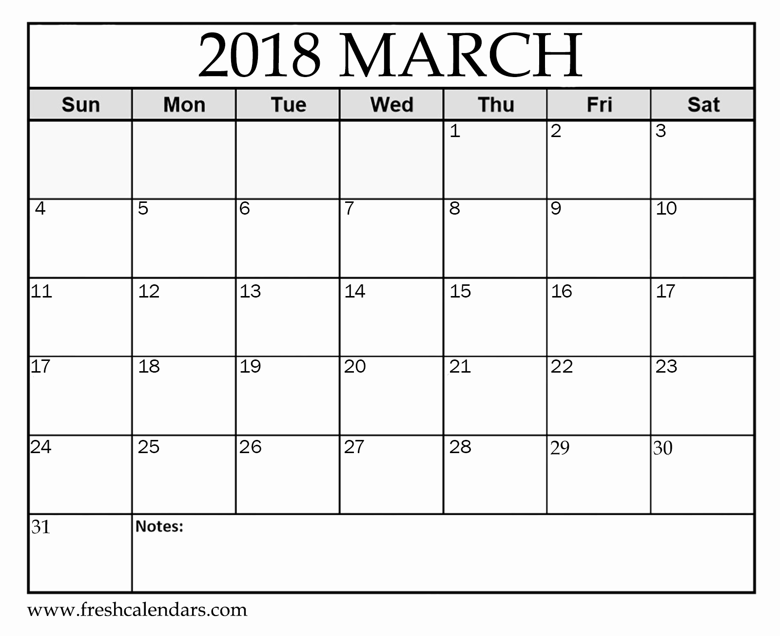 Blank Monthly Calendar Template Pdf Beautiful Printable March 2018 Calendar Fresh Calendars