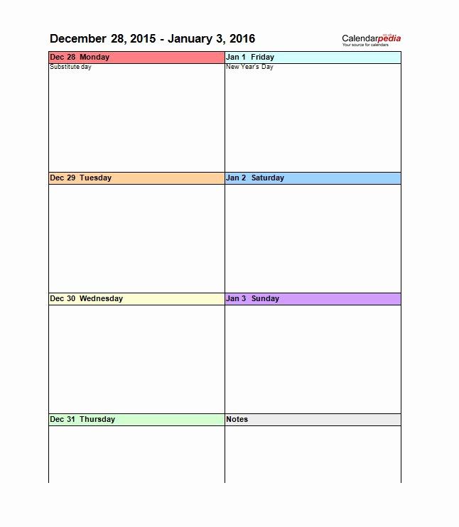 Blank Monthly Calendar Template Pdf Fresh 26 Blank Weekly Calendar Templates [pdf Excel Word]