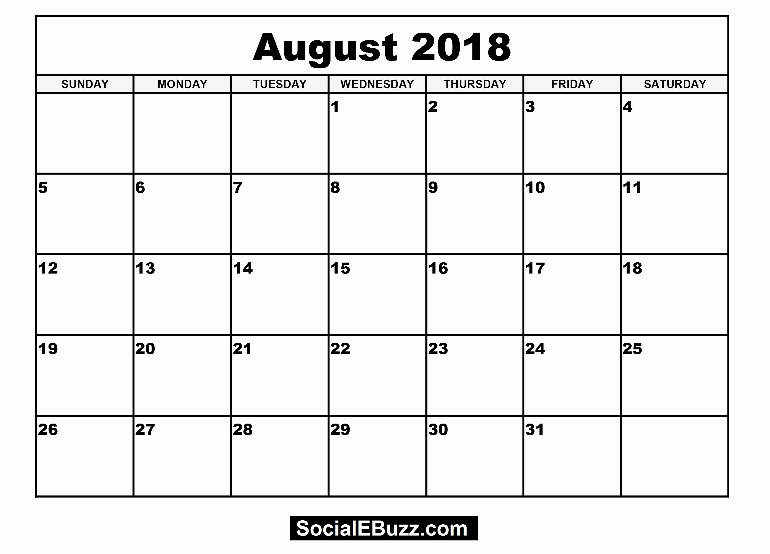 Blank Monthly Calendar Template Pdf Lovely Pin by Calendar Printable On August 2018 Calendar