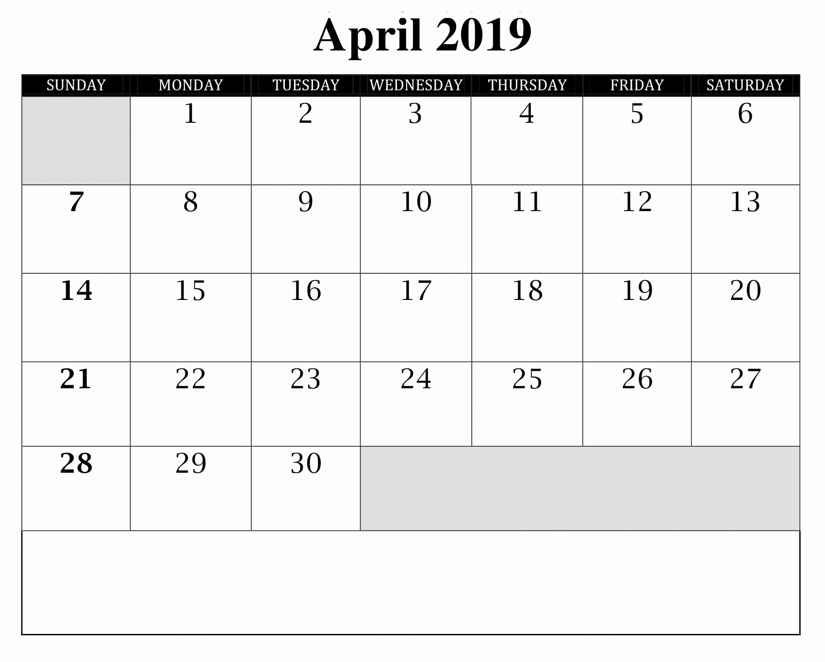 Blank Monthly Calendar Template Pdf New Monthly Blank Calendar April 2019 Printable Template