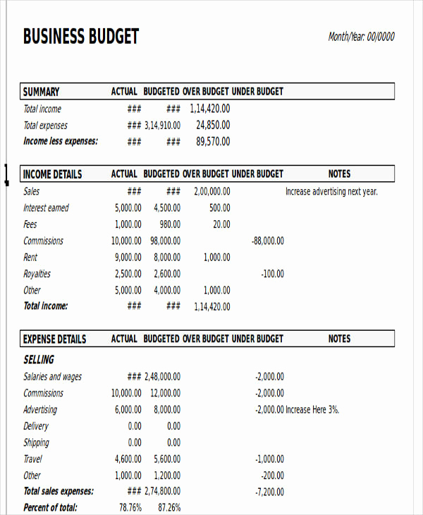 Business Budget Template Excel Beautiful 8 Excel Business Bud Templates