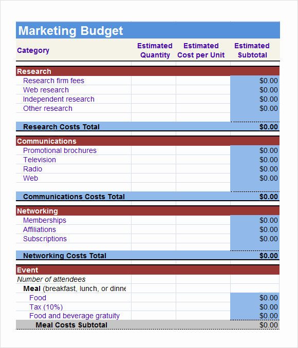 Business Budget Template Excel Fresh 6 Sample Marketing Bud Templates to Download