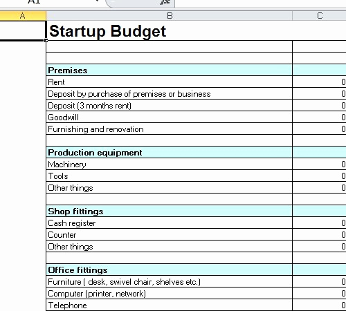 Business Budget Template Excel Luxury Startup Bud Template Excel