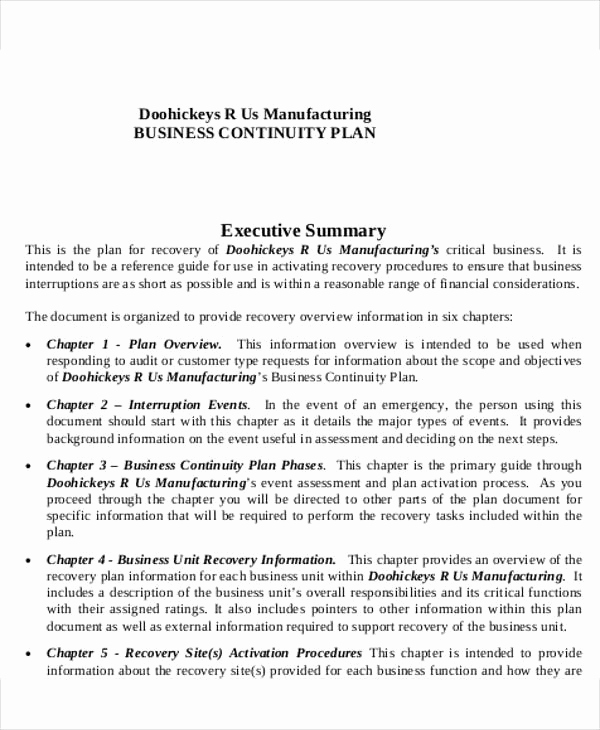 Business Continuity Plan Sample Best Of Manufacturing Business Plan Templates 15 Free Word Pdf