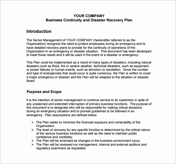 Business Continuity Plan Sample Fresh 13 Disaster Recovery Plan Templates – Free Sample