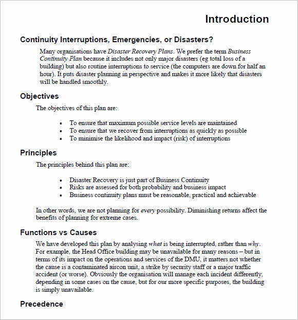 Business Continuity Plan Sample Lovely 14 Business Continuity Plan Templates – Free Samples