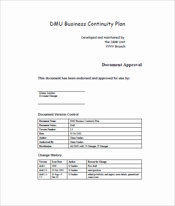Business Continuity Plan Sample Lovely Business Continuity Plan Template – 12 Free Word Excel