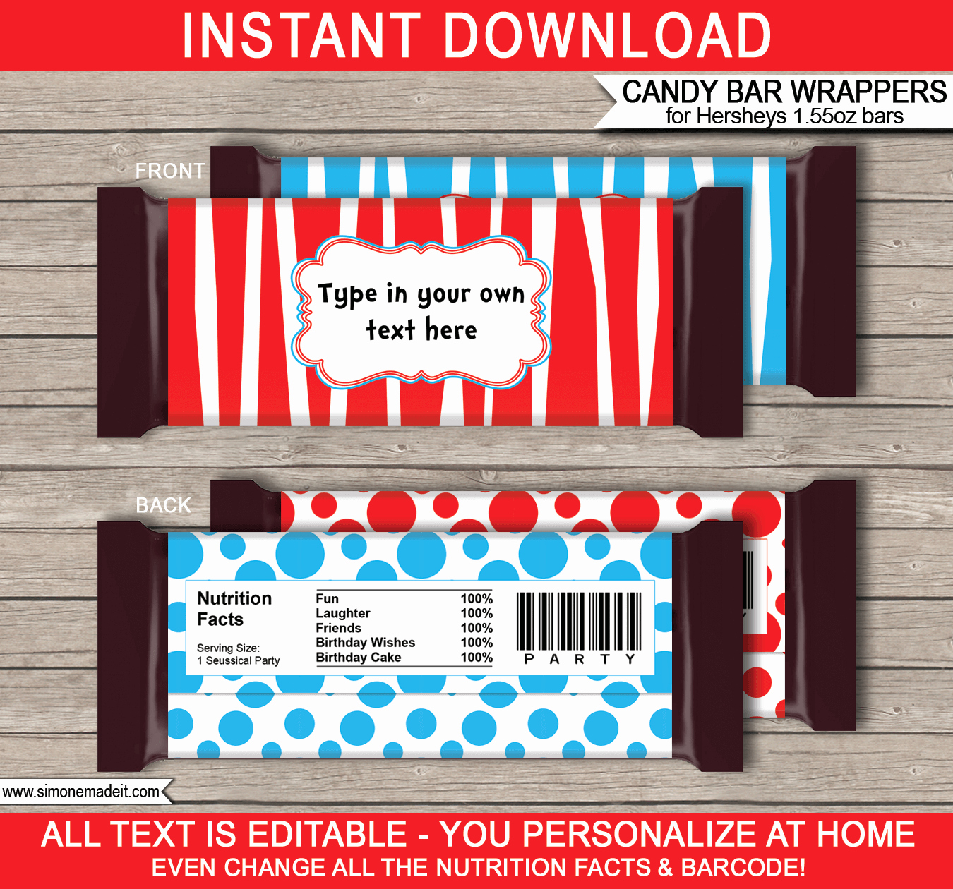 Candy Bar Wrapper Template Beautiful Dr Seuss Hershey Candy Bar Wrappers