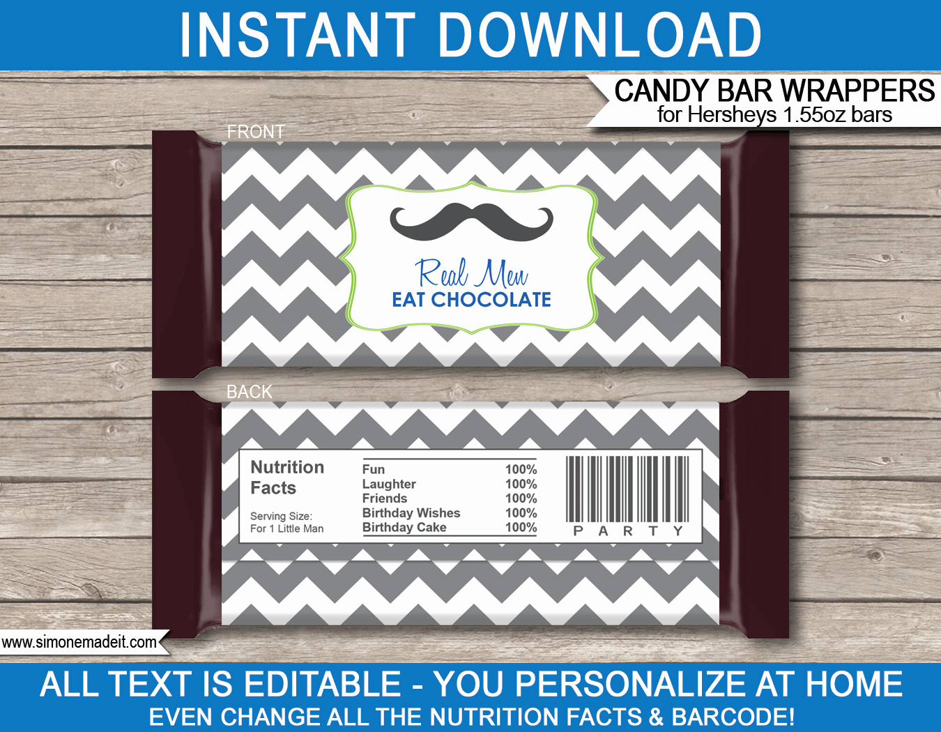 Candy Bar Wrapper Template Elegant Mustache Hershey Candy Bar Wrappers