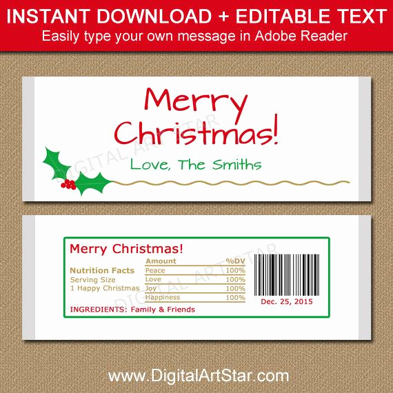 Candy Bar Wrapper Template Luxury Christmas Candy Bar Wrapper Template Printable Holiday