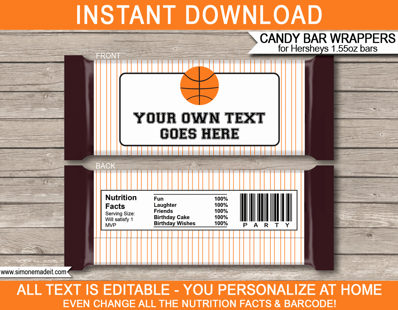 Candy Bar Wrapper Template Unique Basketball Hershey Candy Bar Wrappers