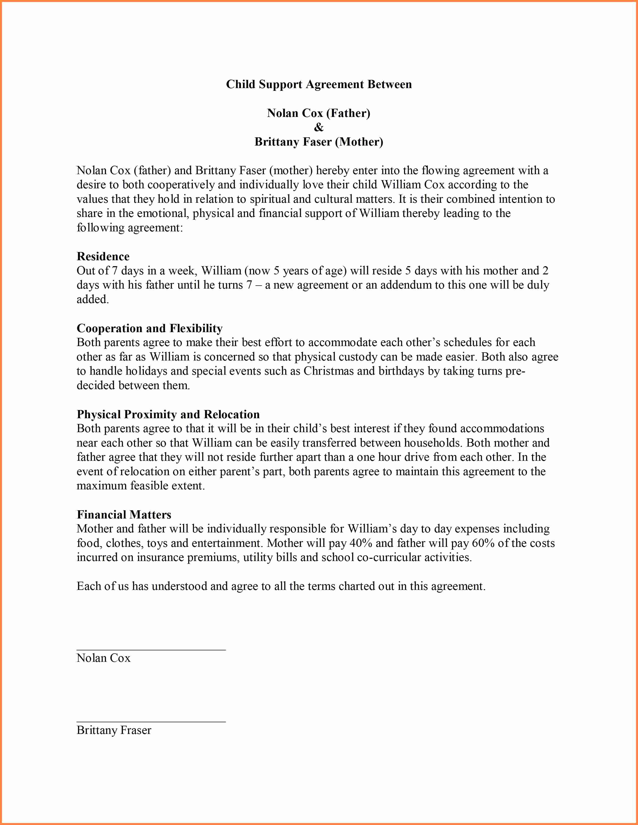 Child Support Agreement Template Beautiful 9 Sample Child Support Agreement Letter Template