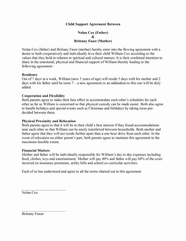 Child Support Agreement Template Elegant Child Support Agreement Template Free Microsoft Word