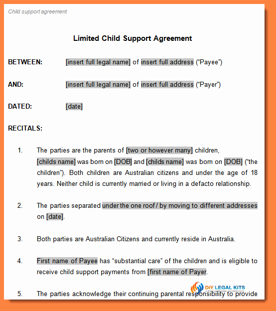 Child Support Agreement Template Inspirational 7 Child Support Payment Agreement Template