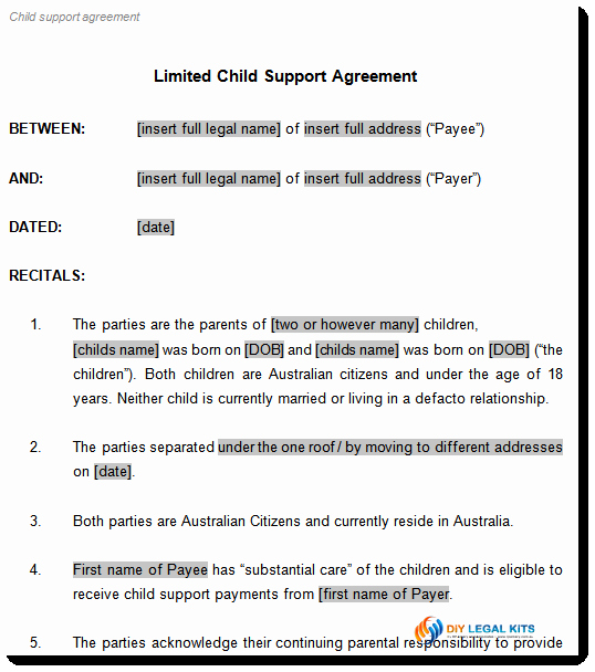 Child Support Agreement Template Inspirational Child Support Agreement Template to Document Arrangements