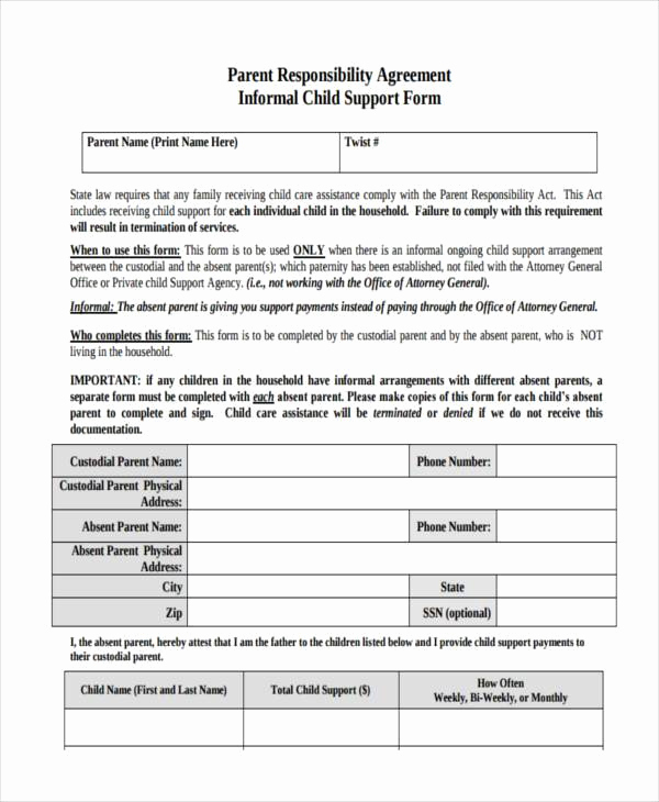 Child Support Agreement Template Luxury Sample Child Support Agreement forms 8 Free Documents