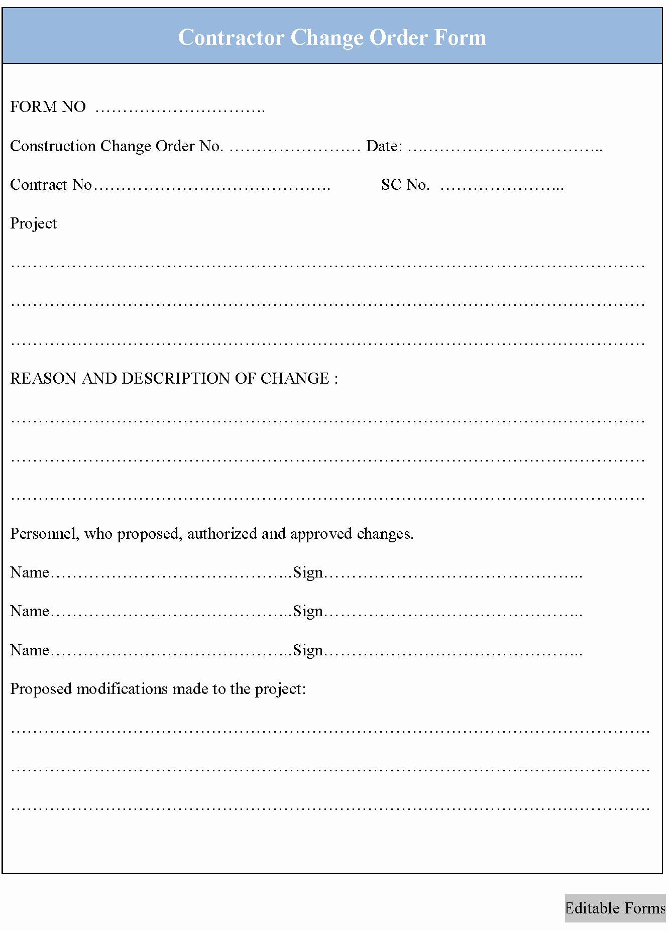 Construction Change order form Awesome Contractor Change order form