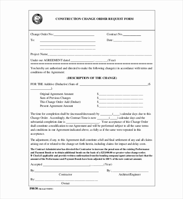 Construction Change order form Beautiful 10 Sample Construction Change order forms
