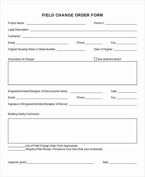 Construction Change order form Beautiful Sample Change order form 12 Examples In Word Pdf