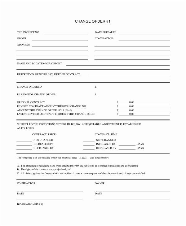Construction Change order form Best Of 24 Change order Templates Pdf Doc