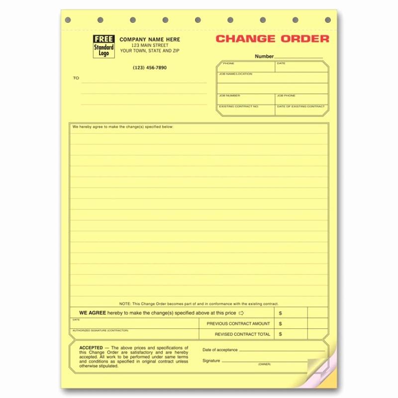 Construction Change order form Elegant Special Contraction Change order forms 271 at Print Ez