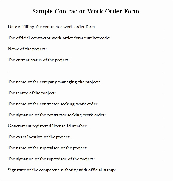 Construction Change order form Fresh Sample Contractor Work order forms