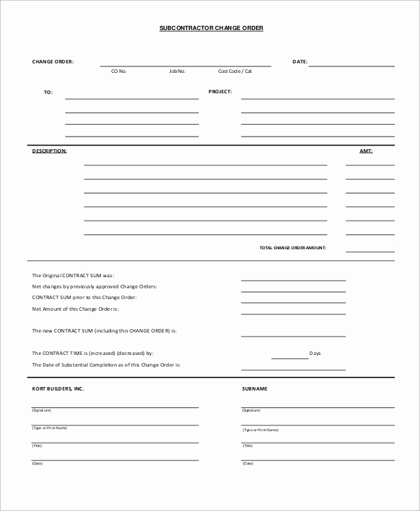 Construction Change order form Inspirational Sample Change order form 12 Examples In Word Pdf