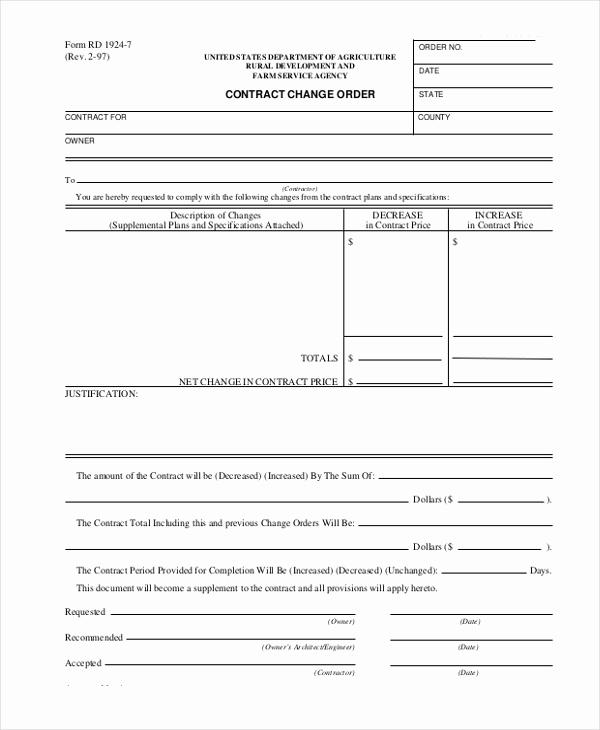 Construction Change order form Lovely Sample Change order form 9 Free Documents In Doc Pdf