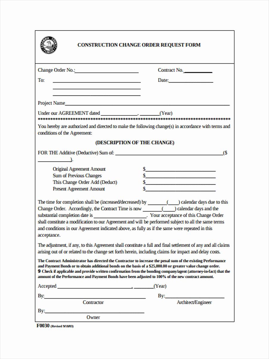 Construction Change order form Luxury 8 Change order Request form Samples Free Samples