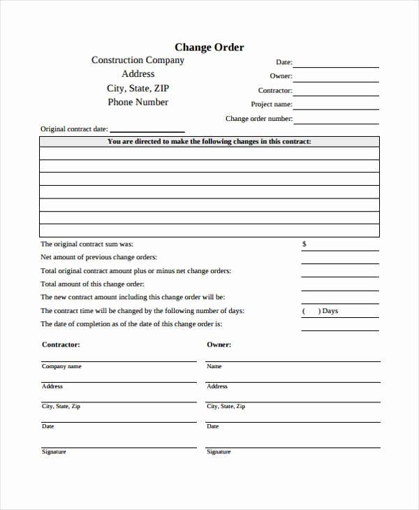 Construction Change order form New Sample order forms