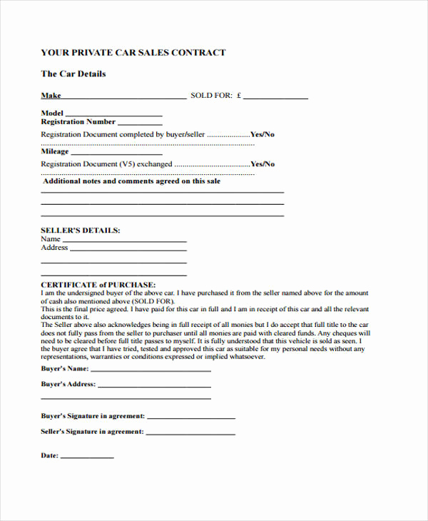 Contract for Selling A Car Beautiful 16 Sale Contract Template Pages Word